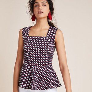 Anthropologie Eri + Ali Effie Peplum Top NWOT Med.